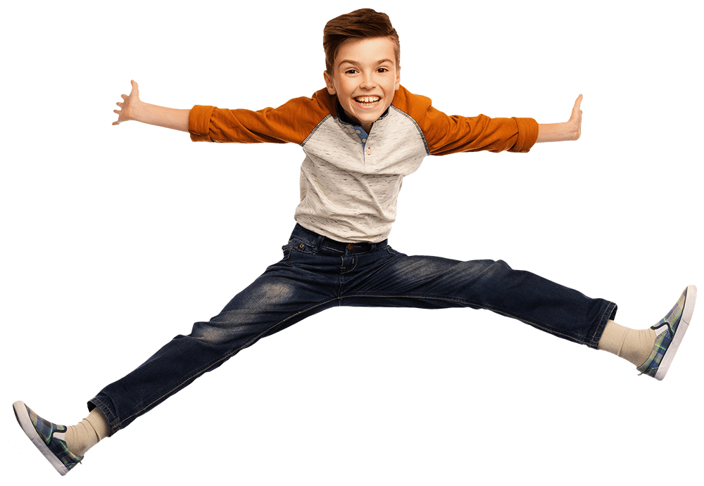 Trampoliinilla hyppäävä poika